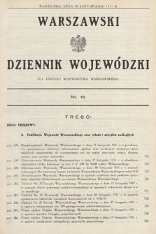 Warszawski Dziennik Wojewódzki : dla obszaru Województwa Warszawskiego. 1931, nr13