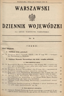 Warszawski Dziennik Wojewódzki : dla obszaru Województwa Warszawskiego. 1932, nr3