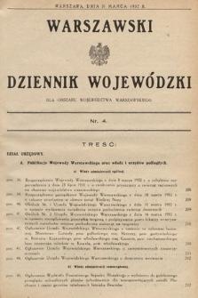 Warszawski Dziennik Wojewódzki : dla obszaru Województwa Warszawskiego. 1932, nr4