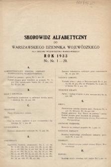 Warszawski Dziennik Wojewódzki : dla obszaru Województwa Warszawskiego. 1933, skorowidz alfabetyczny