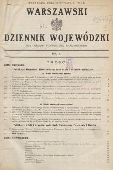 Warszawski Dziennik Wojewódzki : dla obszaru Województwa Warszawskiego. 1933, nr1