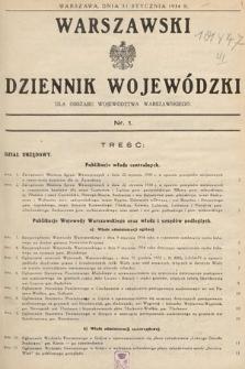 Warszawski Dziennik Wojewódzki : dla obszaru Województwa Warszawskiego. 1934, nr1