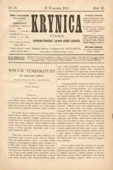 Krynica : pismo poświęcone balneologii i sprawom polskich zdrojowisk. 1895, nr15