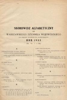 Warszawski Dziennik Wojewódzki : dla obszaru Województwa Warszawskiego. 1935, skorowidz alfabetyczny