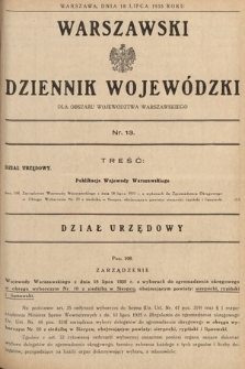 Warszawski Dziennik Wojewódzki : dla obszaru Województwa Warszawskiego. 1935, nr13