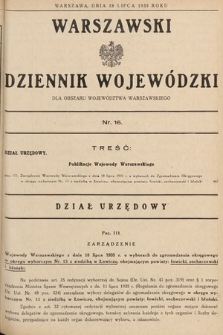 Warszawski Dziennik Wojewódzki : dla obszaru Województwa Warszawskiego. 1935, nr16