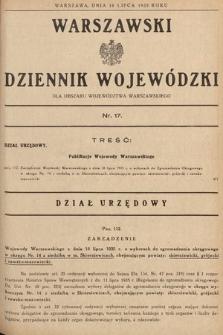 Warszawski Dziennik Wojewódzki : dla obszaru Województwa Warszawskiego. 1935, nr17