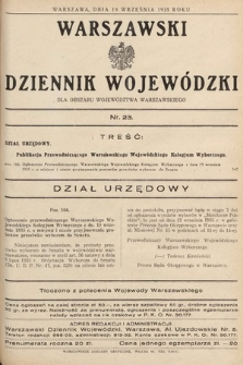 Warszawski Dziennik Wojewódzki : dla obszaru Województwa Warszawskiego. 1935, nr23