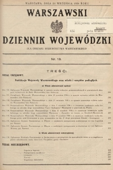 Warszawski Dziennik Wojewódzki : dla obszaru Województwa Warszawskiego. 1936, nr13