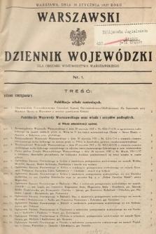 Warszawski Dziennik Wojewódzki : dla obszaru Województwa Warszawskiego. 1937, nr1