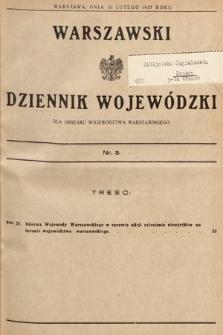 Warszawski Dziennik Wojewódzki : dla obszaru Województwa Warszawskiego. 1937, nr3