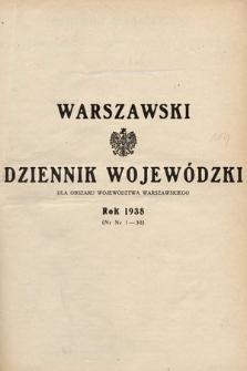Warszawski Dziennik Wojewódzki : dla obszaru Województwa Warszawskiego. 1938, skorowidz alfabetyczny