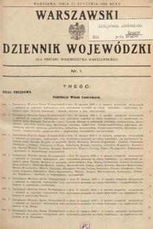 Warszawski Dziennik Wojewódzki : dla obszaru Województwa Warszawskiego. 1938, nr1