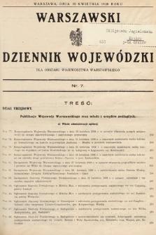 Warszawski Dziennik Wojewódzki : dla obszaru Województwa Warszawskiego. 1938, nr7