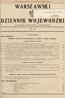 Warszawski Dziennik Wojewódzki : dla obszaru Województwa Warszawskiego. 1938, nr14