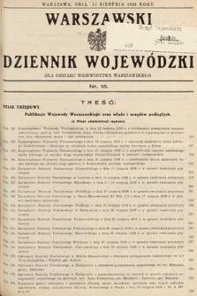Warszawski Dziennik Wojewódzki : dla obszaru Województwa Warszawskiego. 1938, nr15