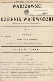 Warszawski Dziennik Wojewódzki : dla obszaru Województwa Warszawskiego. 1938, nr16