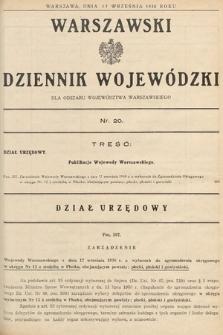 Warszawski Dziennik Wojewódzki : dla obszaru Województwa Warszawskiego. 1938, nr20