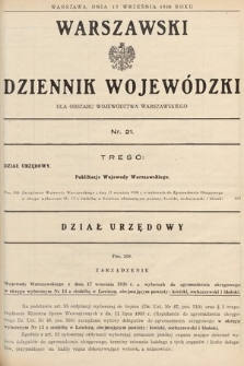 Warszawski Dziennik Wojewódzki : dla obszaru Województwa Warszawskiego. 1938, nr21