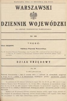 Warszawski Dziennik Wojewódzki : dla obszaru Województwa Warszawskiego. 1938, nr22
