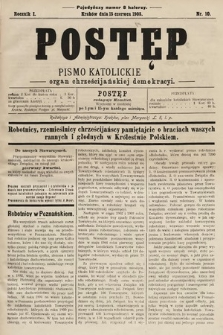 Postęp : pismo katolickie : organ chrześcijańskiej demokracyi. 1905, nr10