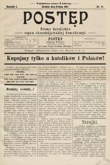 Postęp : pismo katolickie : organ chrześcijańskiej demokracyi. 1905, nr12