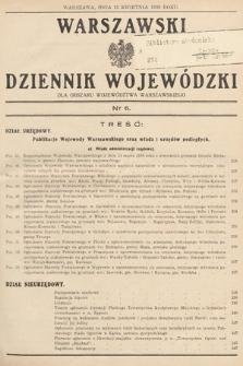 Warszawski Dziennik Wojewódzki : dla obszaru Województwa Warszawskiego. 1939, nr6
