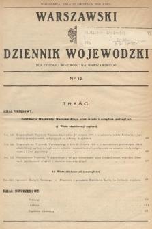 Warszawski Dziennik Wojewódzki : dla obszaru Województwa Warszawskiego. 1939, nr15