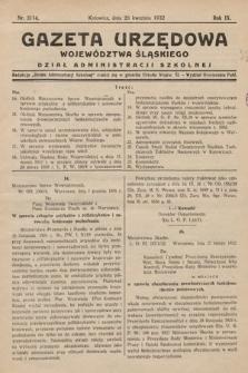 Gazeta Urzędowa Województwa Śląskiego. Dział Administracji Szkolnej. 1932, nr11/14(2)