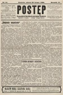 Postęp : organ polskich związków chrześcijańsko-socyalnych. 1908, nr21