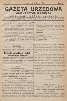 Gazeta Urzędowa Województwa Śląskiego. Dział Administracji Szkolnej. 1933, nr7(2)