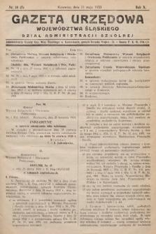 Gazeta Urzędowa Województwa Śląskiego. Dział Administracji Szkolnej. 1933, nr18(5)