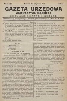 Gazeta Urzędowa Województwa Śląskiego. Dział Administracji Szkolnej. 1933, nr43(12)