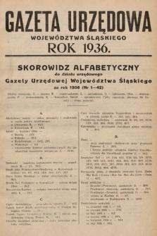 Gazeta Urzędowa Województwa Śląskiego. Dział Administracji Szkolnej. 1936, skorowidz alfabetyczny