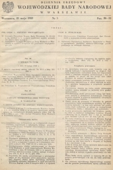 Dziennik Urzędowy Wojewódzkiej Rady Narodowej w Warszawie. 1953, nr5