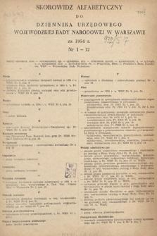 Dziennik Urzędowy Wojewódzkiej Rady Narodowej w Warszawie. 1954, skorowidz alfabetyczny