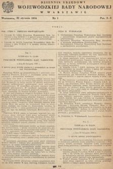Dziennik Urzędowy Wojewódzkiej Rady Narodowej w Warszawie. 1954, nr1