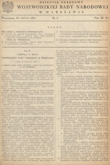 Dziennik Urzędowy Wojewódzkiej Rady Narodowej w Warszawie. 1954, nr4
