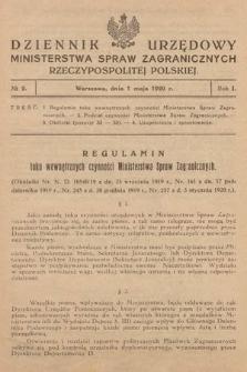 Dziennik Urzędowy Ministerstwa Spraw Zagranicznych Rzeczypospolitej Polskiej. 1920, nr2