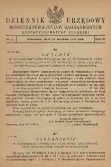 Dziennik Urzędowy Ministerstwa Spraw Zagranicznych Rzeczypospolitej Polskiej. 1922, nr13