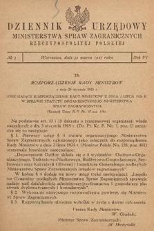 Dziennik Urzędowy Ministerstwa Spraw Zagranicznych Rzeczypospolitej Polskiej. 1925, nr3