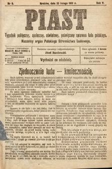 Piast : tygodnik polityczny, społeczny, oświatowy, poświęcony sprawom ludu polskiego : Naczelny organ Polskiego Stronnictwa Ludowego. 1917, nr8