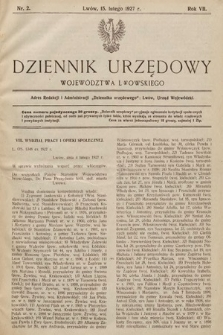 Dziennik Urzędowy Województwa Lwowskiego. 1927, nr2