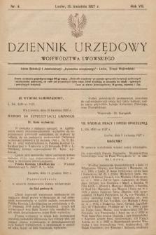 Dziennik Urzędowy Województwa Lwowskiego. 1927, nr4