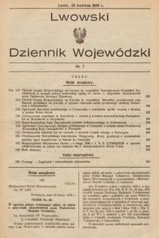 Lwowski Dziennik Wojewódzki. 1930, nr7