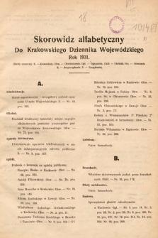 Krakowski Dziennik Wojewódzki. 1931, skorowidz alfabetyczny