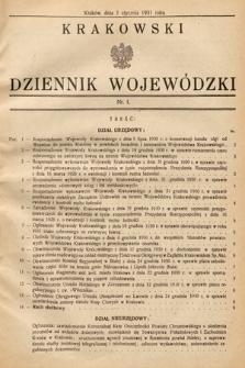 Krakowski Dziennik Wojewódzki. 1931, nr1