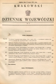 Krakowski Dziennik Wojewódzki. 1931, nr7