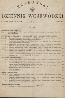 Krakowski Dziennik Wojewódzki. 1929, nr1