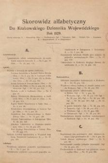 Krakowski Dziennik Wojewódzki. 1929, skorowidz alfabetyczny